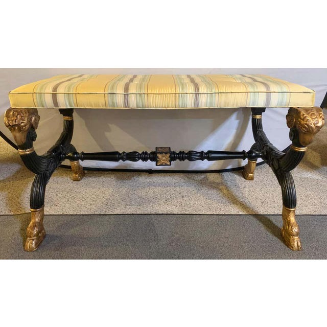 Ebonized & Gilt Benches Having Mantra Silk Scalamandre Upholstery - a Pair For Sale In New York - Image 6 of 13