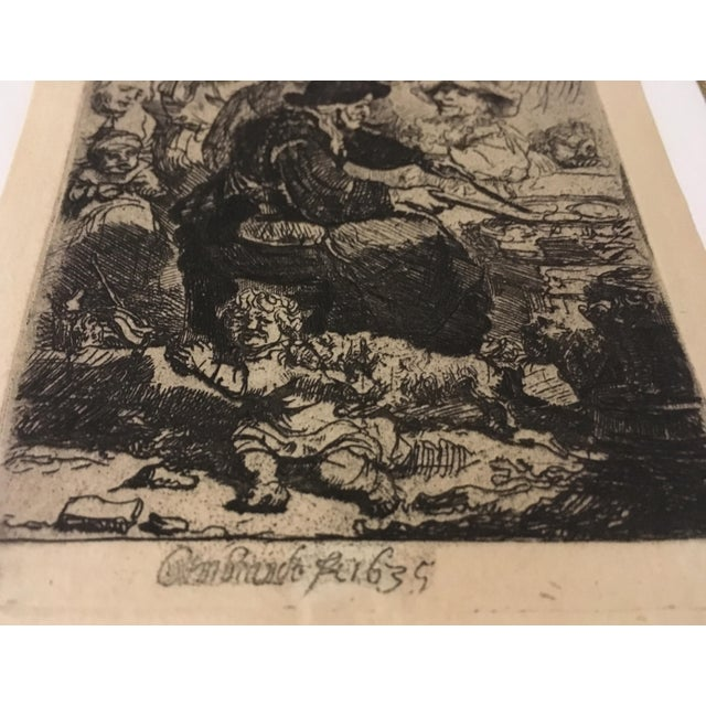 "Rembrandt ""The Pancake Woman"" Original Etching - Image 5 of 9"