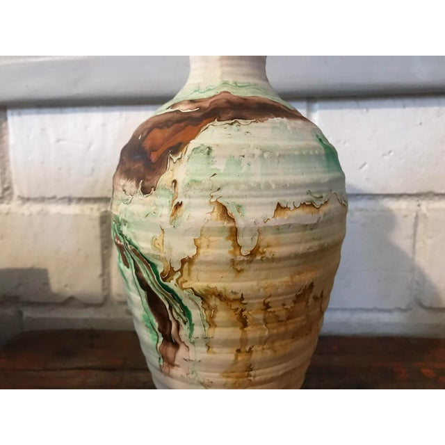 1970s Nemadji Tall Green and Brown Swirl Vase For Sale - Image 5 of 12