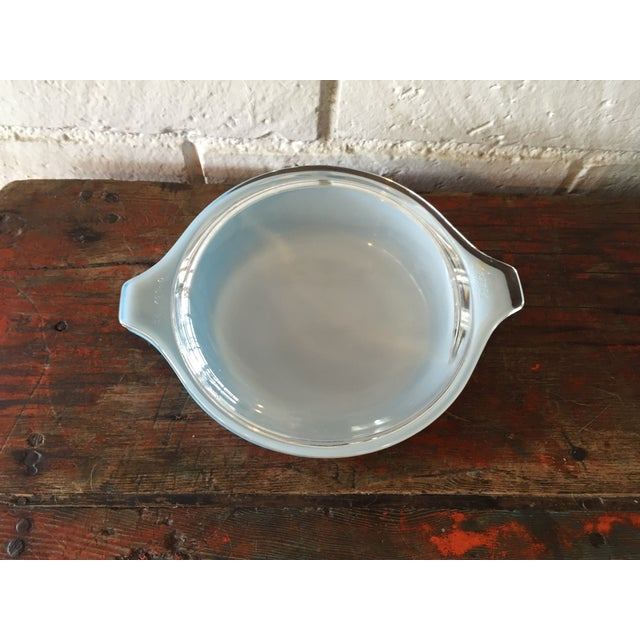 Mid-Century Modern Pyrex Blue Snowflake Casserole Dish For Sale - Image 3 of 8
