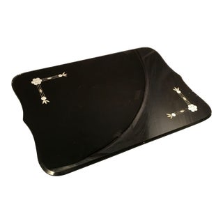 1920s Art Deco Black Glass & Mirror Vanity or Bar / Drinks Tray For Sale