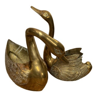 Vintage Mid-Century Brass Swans Planters-A Pair For Sale