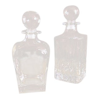 Vintage Lidded Glass Decanters - a Pair For Sale