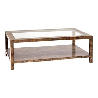 Organic Modern Made Goods Banana Bark Inlay Glass Top Two Layer Large Coffee Table For Sale