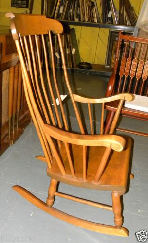 Early American Bent Brothers Antique Maple Rocker For Sale   Image 3 Of 6