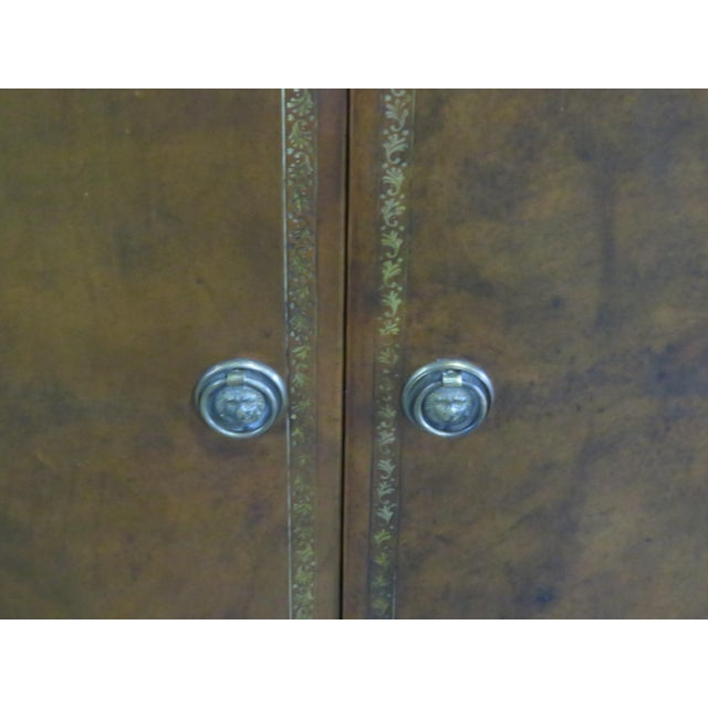 Mid 20th Century Mid Century Tooled Leather Demilune Commode For Sale - Image 5 of 8