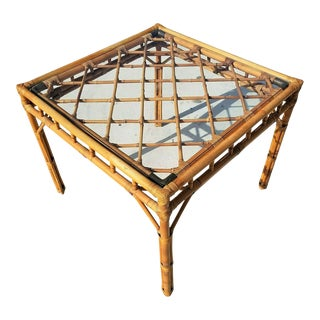 Vintage Mid Century Modern Bamboo Rattan Brass Bentwood Dining Table Base For Sale