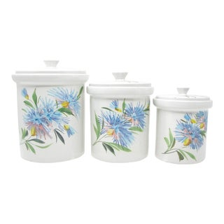 Vintage Italian Pottery Canister Set With Handpainted Floral Design - Set of 3 For Sale