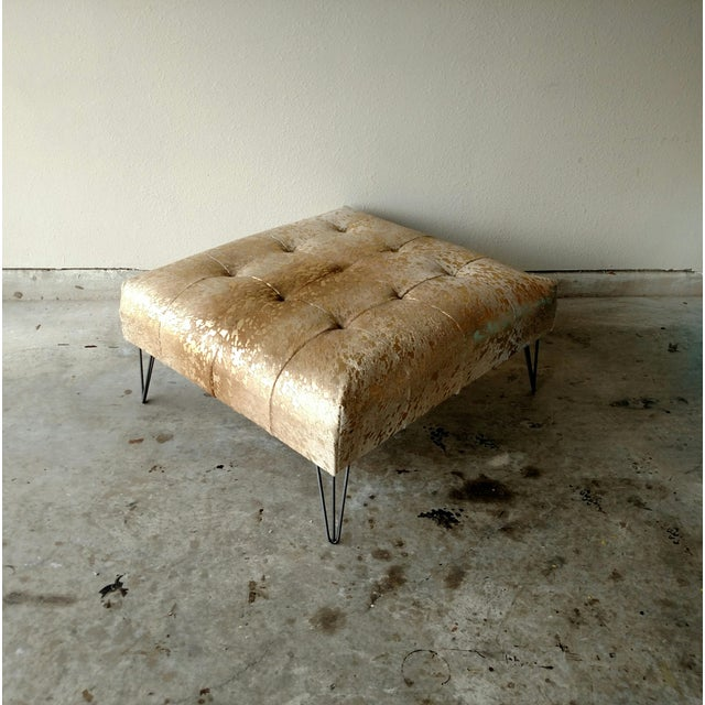 Gambrell Renard Metallic Gold Cowhide Ottoman For Sale - Image 4 of 5