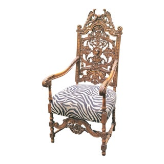 19th Century Baroque Carved Flemish Style Throne Chair For Sale