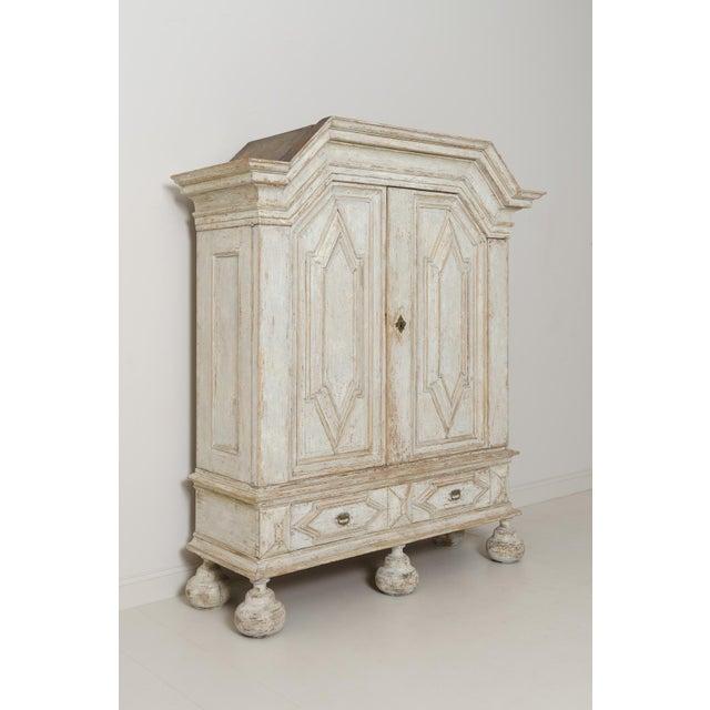 White 18th Century Swedish Baroque Period Linen Press Armoire Cabinet For Sale - Image 8 of 11