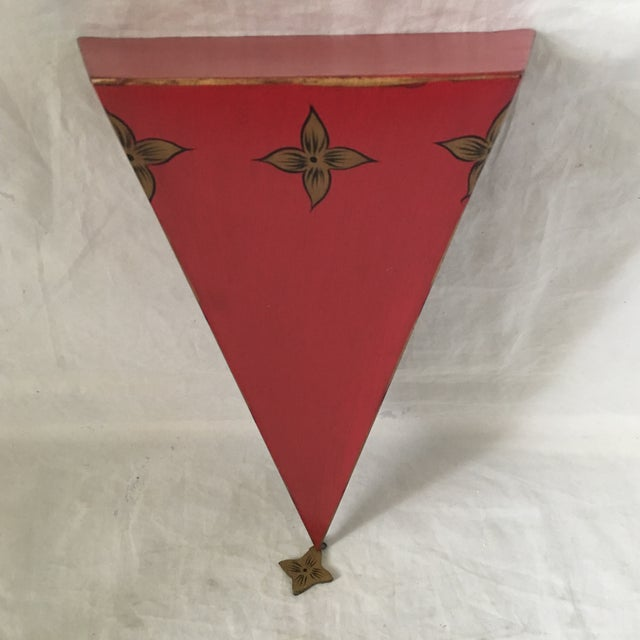 Boho Chic Moroccan Style Red Tole Metal Wall Shelf For Sale - Image 3 of 5