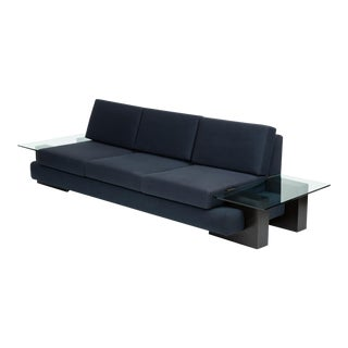 American-Made Sofa With Glass End Tables by Kroehler For Sale