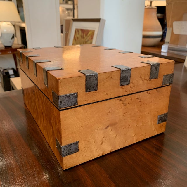 """Large, antique Birdseye maple box with cut steel decoration and key. England, circa 1830 Size: 11.5"""" W 8.25"""" D 5.5"""" H"""
