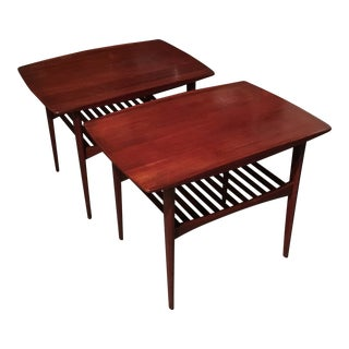 1960s Danish Modern Tove and Edvard Kindt-Larsen End Tables - a Pair For Sale