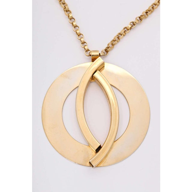 Mid-Century Modern Large Mod Medallion Necklace For Sale - Image 3 of 7