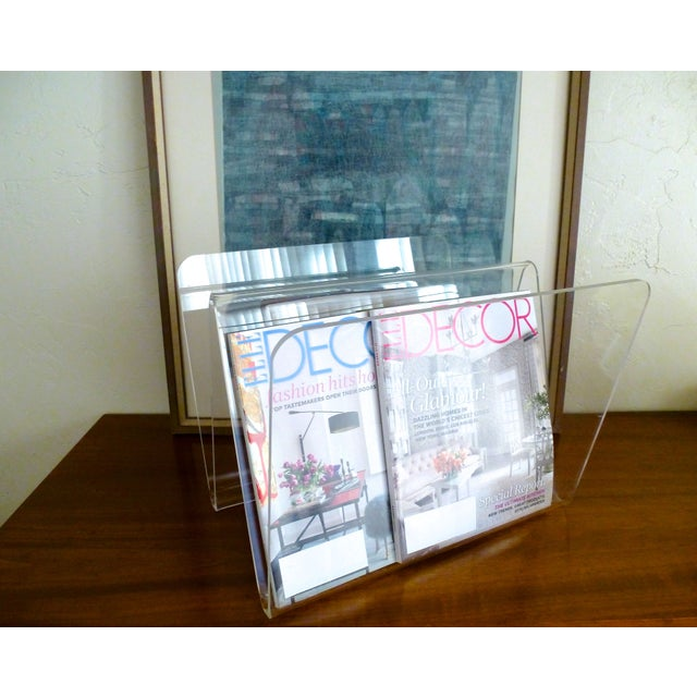 Mid-Century Modern Lucite W Magazine Holder For Sale - Image 3 of 6