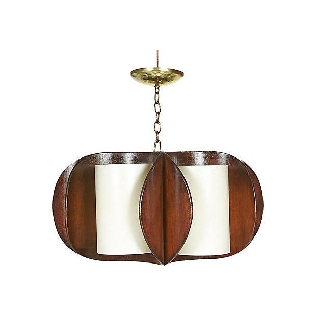1960s Curved Walnut Wood Chandelier For Sale - Image 4 of 5