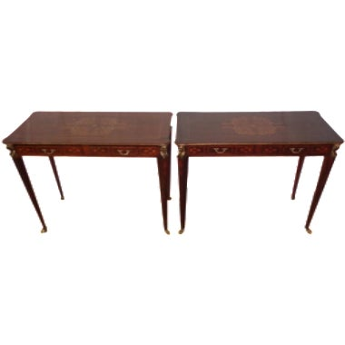 French Inlay Accent Tables - A Pair - Image 1 of 4
