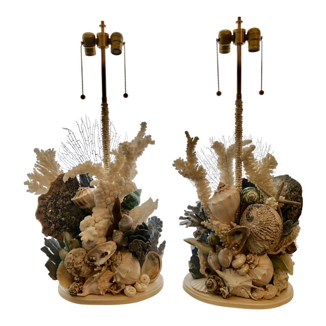 Organic Seashell Table Lamps - a Pair For Sale