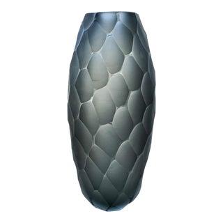 21st Century Alberto Dona Smoked Chiseled Vase For Sale