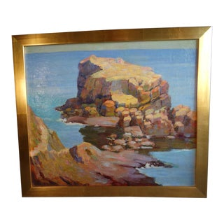 """1930s """"Coyote Point"""" Coastal Landscape Oil Painting by Jerome Jones, Framed For Sale"""