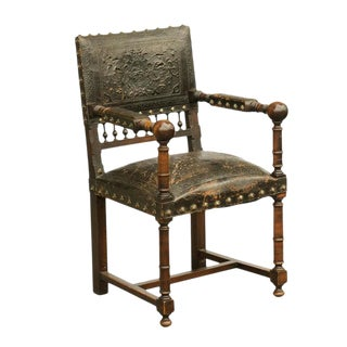 French 19th Century Embossed Leather Upholstered Wooden Armchair with Open Arms