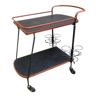 Jacques Adnet Black and Brown Hand-Stitched Leather Bar Rolling Table For Sale