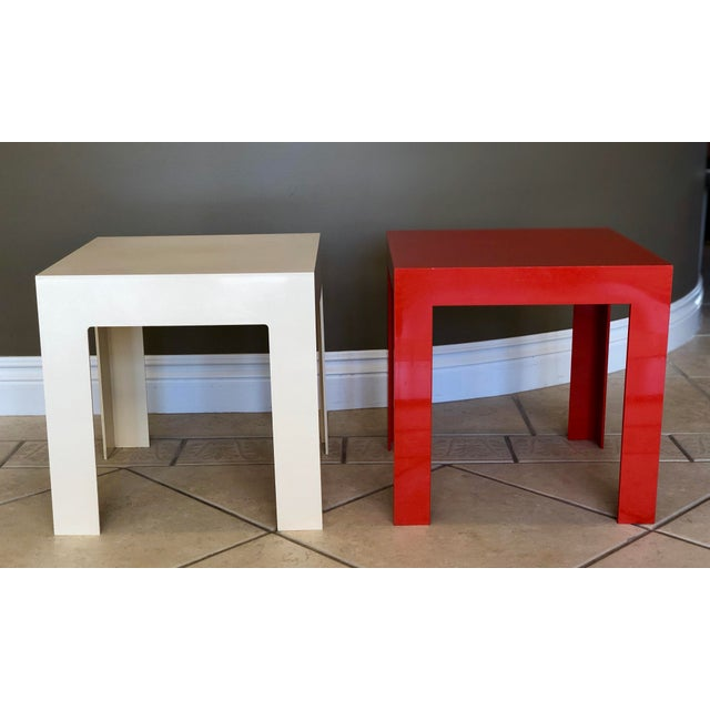 We are pleased to offer a cool, fun, modern pair of fiberglass parsons side tables. Made in the 1970s.