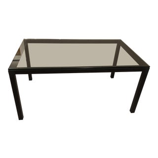 Rectangular Glass & Steel Base Dining Table For Sale