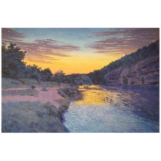 "Tim Saska ""Sunset on the Guadalupe"" Acrylic on Canvas, Signed For Sale"