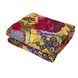 "Vintage Indian CottonThrow Kantha Quilt 89"" by 58"" For Sale"