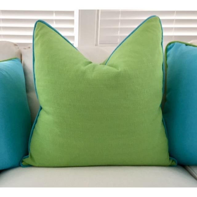 Lime Green With Turquoise Contrast Welt Pillow - Image 6 of 6