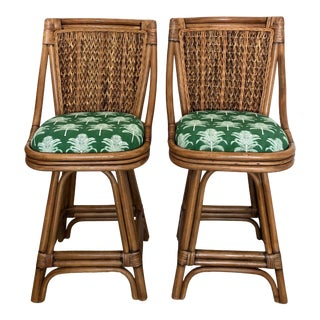 Rattan and Seagrass Swivel Bar Stools in a Bright Green Indoor Outdoor Palm Fabric For Sale