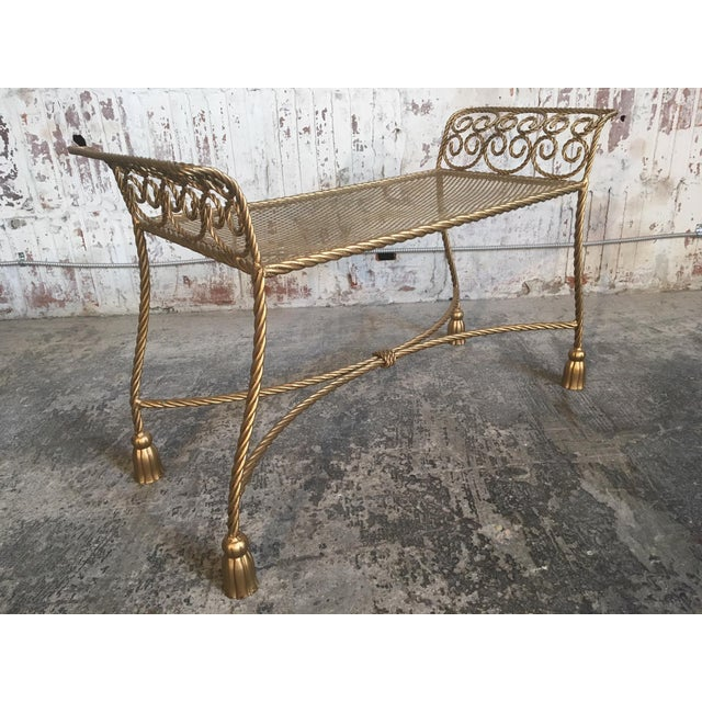 Hollywood Regency Gold Gilt Wrought Iron Tassel Vanity Bench For Sale - Image 4 of 10