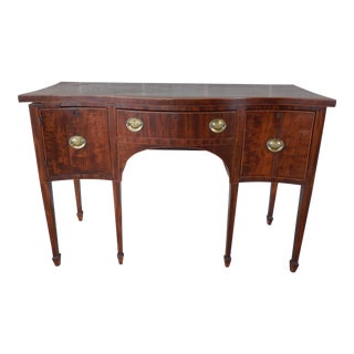 Antique George III Serpentine Satin Wood Top Edge Banded Mahogany Sideboard For Sale