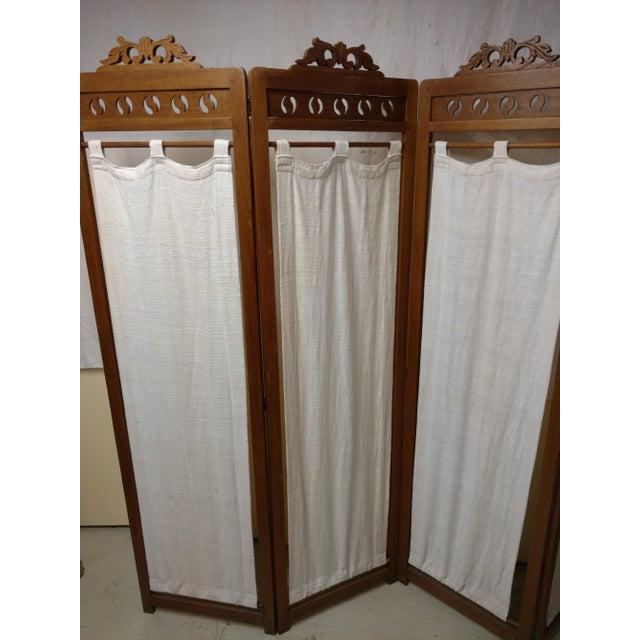 Brown Vintage Carved Wood Room Screen Linen Panels For Sale - Image 8 of 12