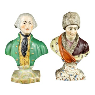 Handsome Collection of Seven 19th Century English Staffordshire Bust