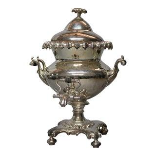 Antique English Regency Pedestal Silver Plate Samovar, Tea Urn For Sale