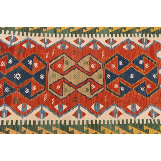"Vintage Turkish Hand Knotted Kilim Rug - 3'7"" x 5'7"" For Sale - Image 4 of 5"