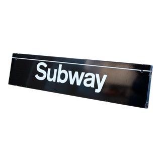 Vintage Porcelain Enamel New York Subway Station Sign For Sale