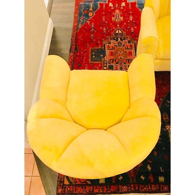1980s American Classical Bright Yellow Velvet Vanguard Channel Back Chairs - a Pair For Sale - Image 10 of 12