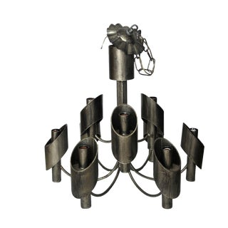 Marcello Fantoni Steel Chandelier For Sale