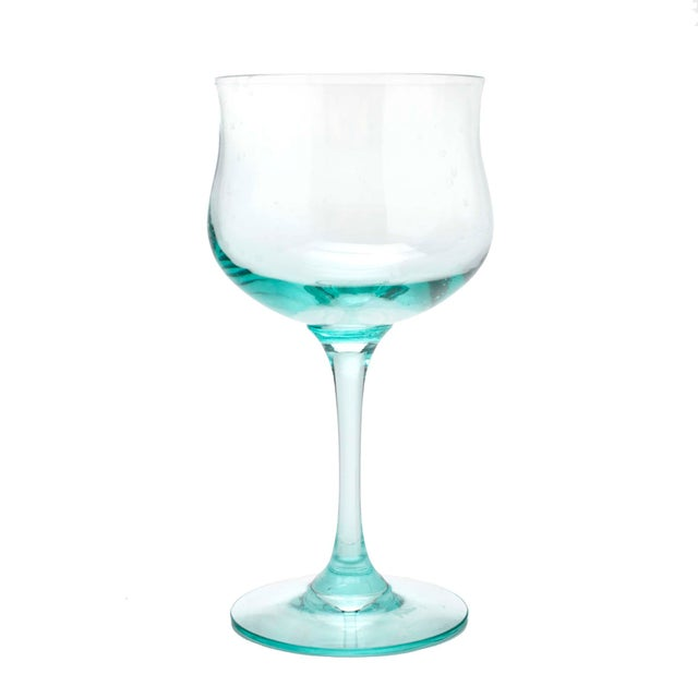 """For champagne or a tall sherbet, """"Blue Mist"""" by Lenox, 3.5"""" diameter at rim x 5"""" high."""