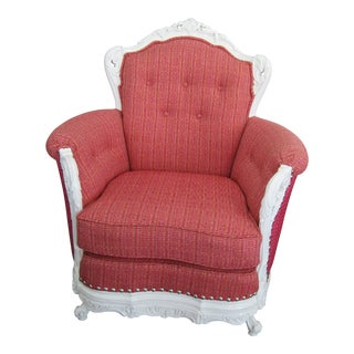 Victorian Pink Upholstered White Carved Wood Queen's Chair For Sale