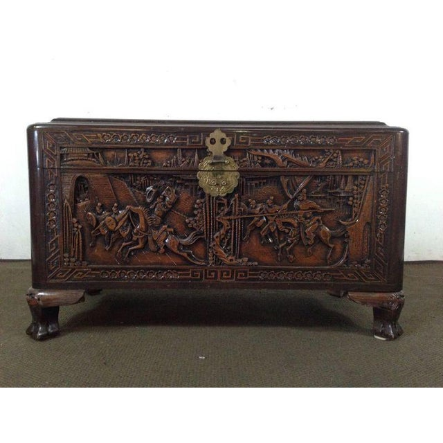 Chinese Carved Teak & Camphor Wood Chest - Image 2 of 11