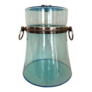 Vintage Sapphire Hand Blown Italian Ice Bucket with Sterling Silver Accents For Sale