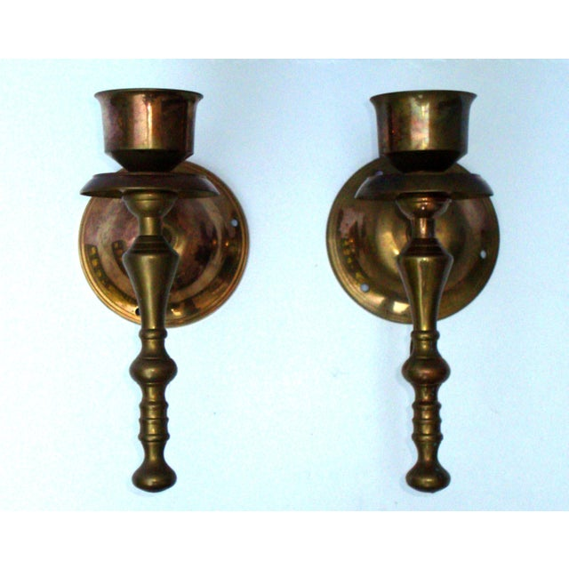 Victorian Gothic Regency Deco Brass Candle Sconces - Image 2 of 11