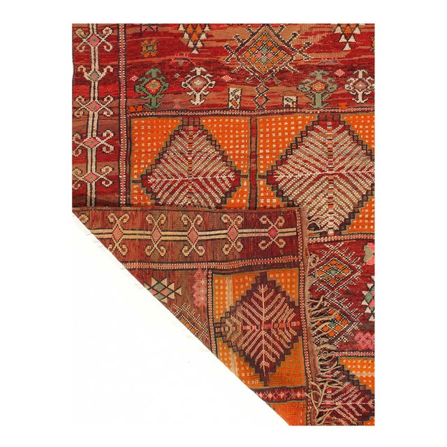 Contemporary Vintage Red Fine Hand Knotted Moroccon Rug 5'6'' X 8'11'' For Sale - Image 3 of 4