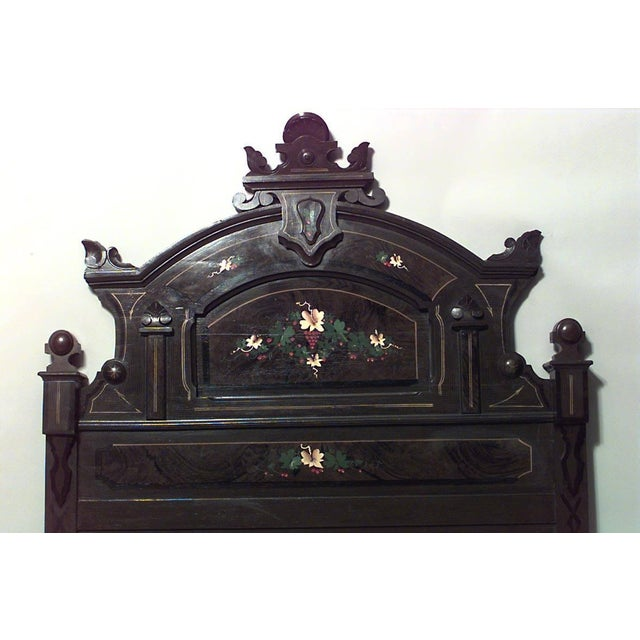 American Victorian grained, polychromed and floral painted full size bed (headboard, footboard, rails) (early 20th century).